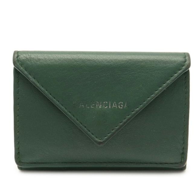Item - Green Paper Mini Compact Tri-fold Leather 391446 Wallet