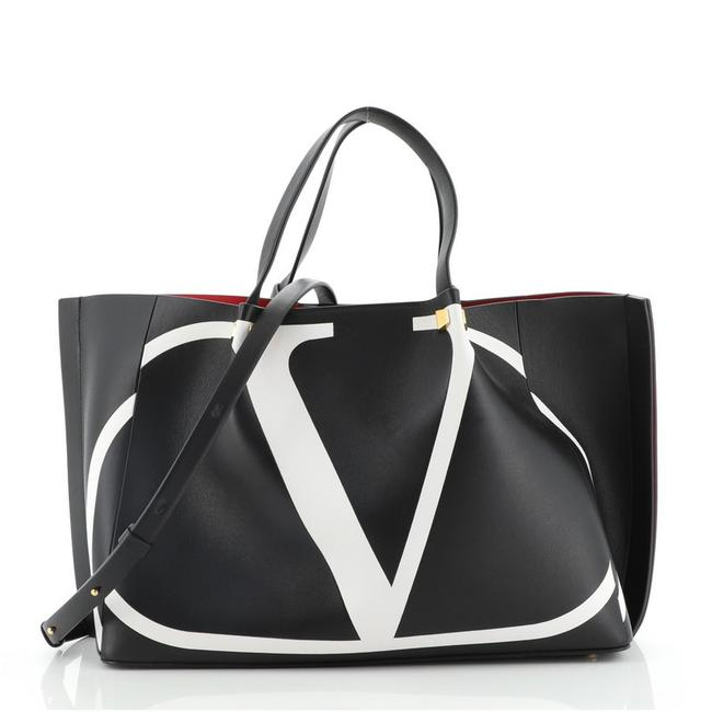 Item - Vlogo Escape with Inlay Medium Black Leather Tote