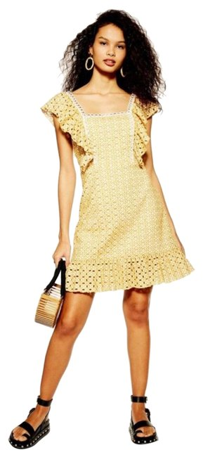 Item - Yellow Broderie Short Casual Dress Size 8 (M)
