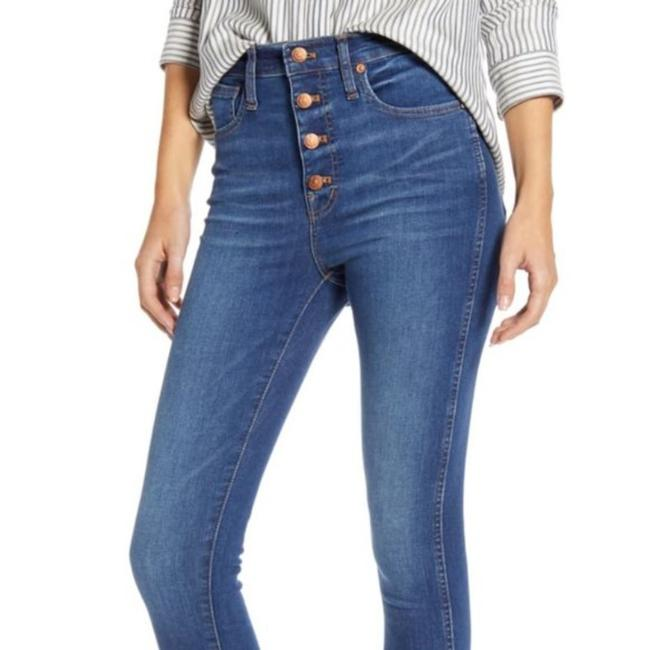 Item - Blue Medium Wash High Rise Button Front Skinny Jeans Size 24 (0, XS)