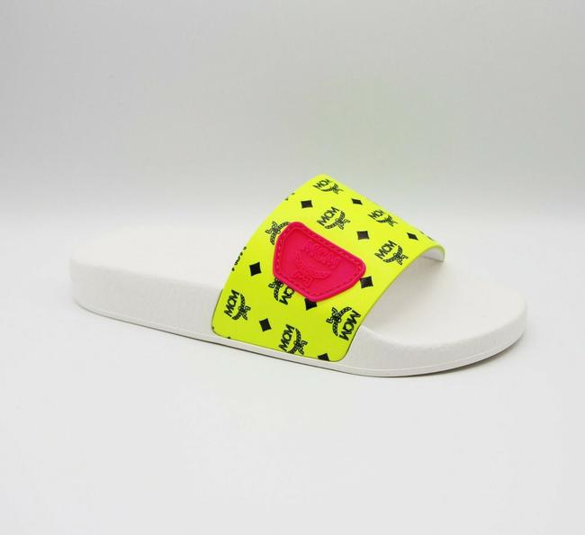 Item - Neon Yellow Logo Leather Rubber Slides Sandals 44/Us 11 Mex9alc76yn Shoes