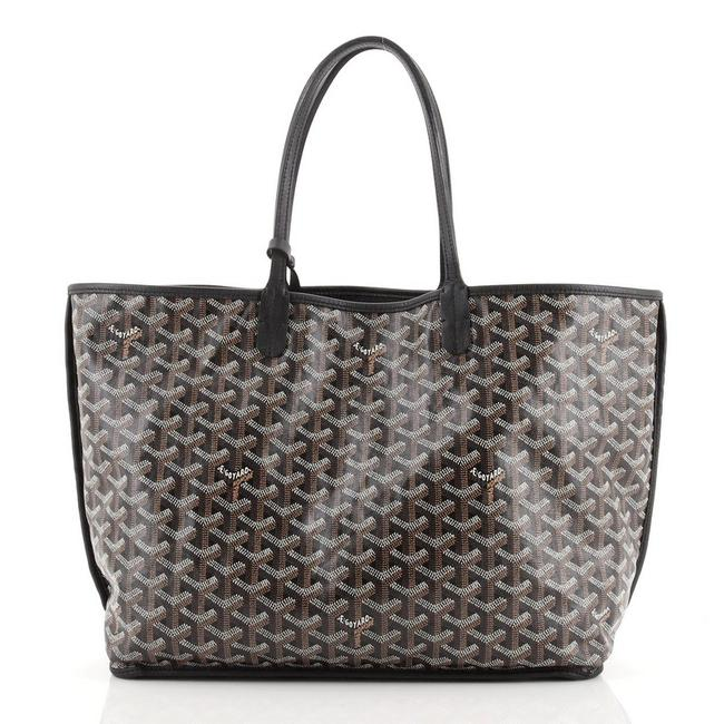 Item - Reversible Anjou Pm Black Brown Neutral Coated Canvas Tote