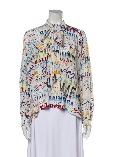 Item - White and Multicolor. Summer Blouse Size 6 (S)