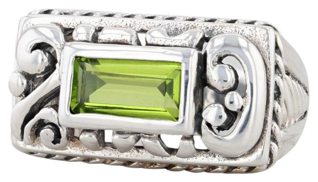 Item - Sterling Silver Green Glass Solitaire Ornate Statement Ring