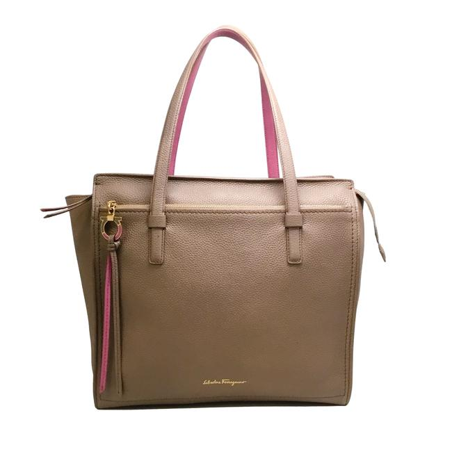 Item - Zip Top Taupe / Pink Leather Tote