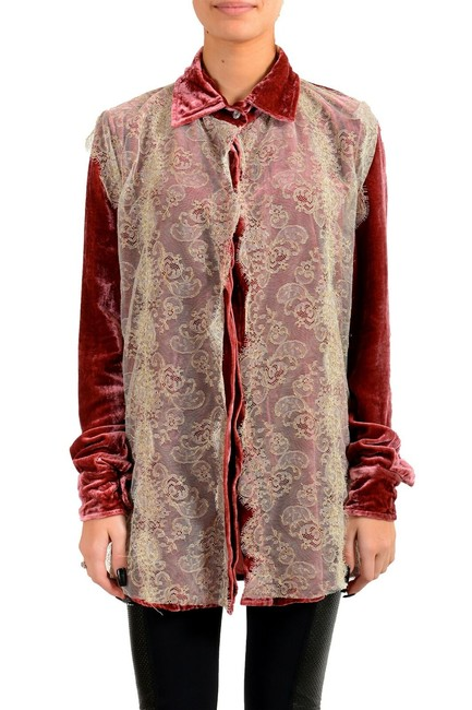 Item - Purplish Pink Gf Women's Silk Velour Lace Trimmed Shirt Blouse Size 2 (XS)