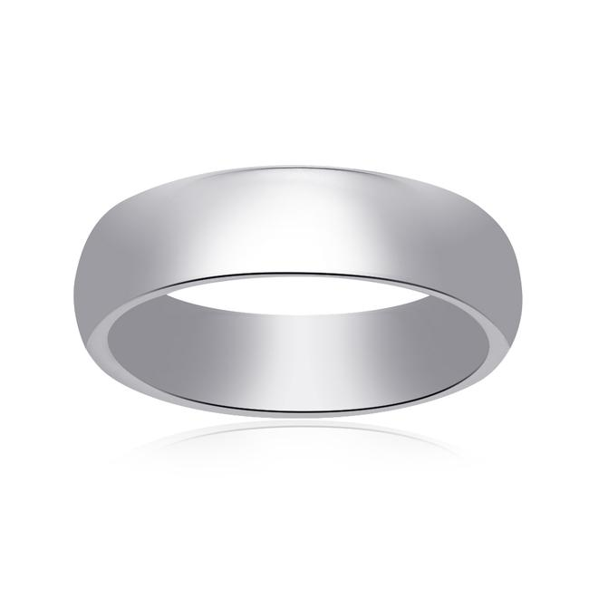 Item - 14k White Gold 5.7mm Comfort Fit Concave Mens Band Ring