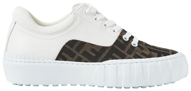 Item - White/Dark Brown Mesh-trimmed Logo-jacquard Canvas and Leather Sneakers Size EU 36 (Approx. US 6) Regular (M, B)