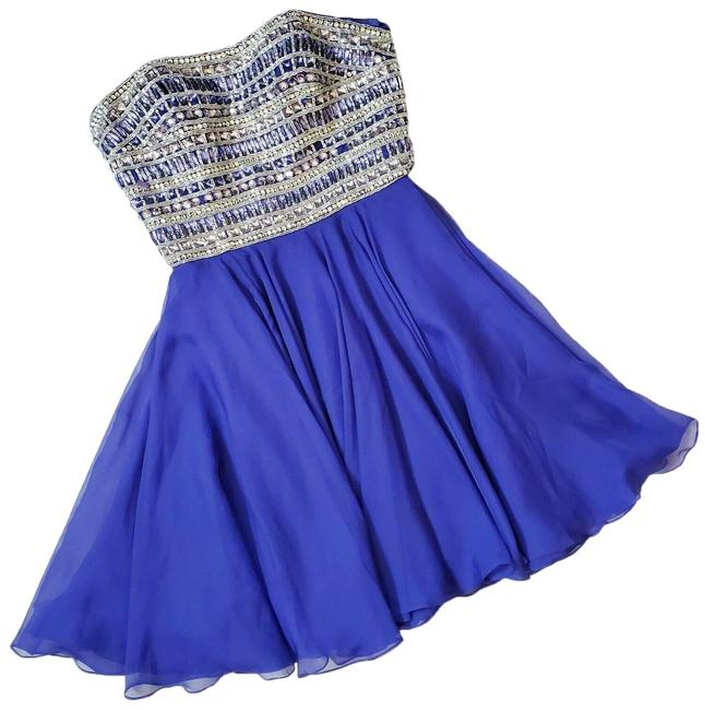 Item - Blue Embellished Strapless Fit and Flare Chiffon Mini Short Formal Dress Size 8 (M)