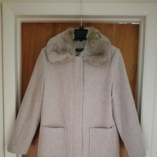 Item - Sleekly Stylish Wool Blend Features A Plush Faux Fur Collar Hidden Front and Snap Placket. Front Patch Pockets 38486-z6 Coat Size 14 (L)