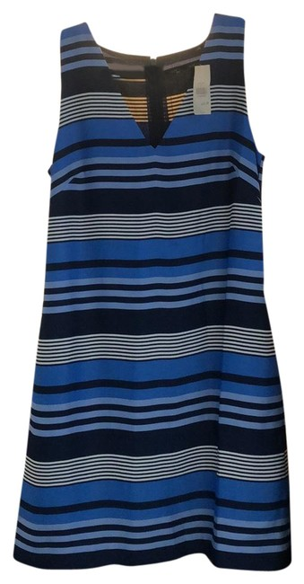 Item - Blue Black and White Striped 3263760010004 Short Work/Office Dress Size 4 (S)