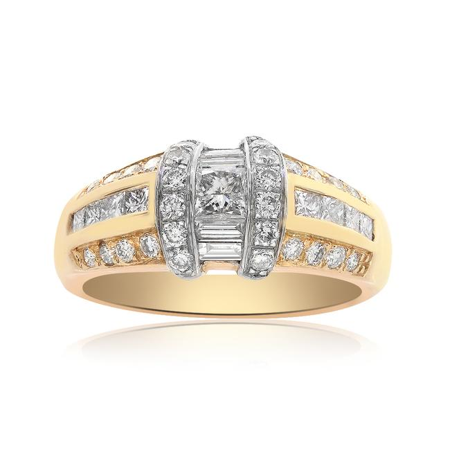 Item - Yellow White 1.00 Carat Round Princess and Baguette Cut Diamond 14k Two Tone Ring