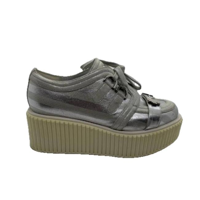 Item - Silver Stripe Boy Lame Creeper Sneakers Size EU 37 (Approx. US 7) Regular (M, B)