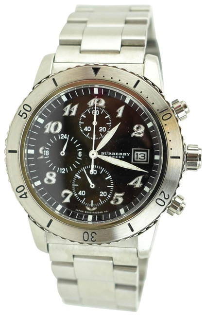 Burberry Silver Stainless Steel Logo Chronograph (Nm) Watch Burberry Silver Stainless Steel Logo Chronograph (Nm) Watch Image 1