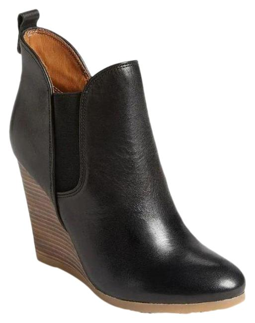 Item - Black Brown | Leather Farah Heels Wooden Wedges Boots/Booties Size US 6 Regular (M, B)