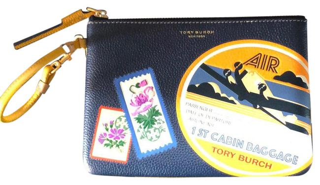 Item - Perry Travel Patches Blue Leather Wristlet