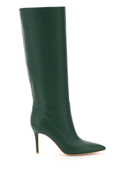 Item - Green Leather Heeled Boots/Booties Size EU 37 (Approx. US 7) Regular (M, B)