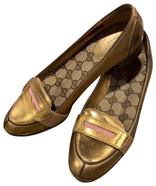 Item - Gold Penny Loafers Flats Size US 6 Regular (M, B)