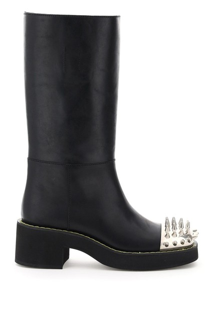 Item - Black Studded Leather Boots/Booties Size EU 38 (Approx. US 8) Regular (M, B)