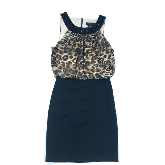 Item - Tan Leopard Print with Beaded Embellishment Neckline Small 5 / Short Night Out Dress Size 6 (S)