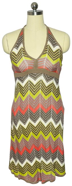 Item - Multicolor Boho Knit Halter Mid-length Night Out Dress Size 12 (L)