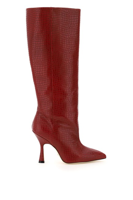Item - Red Parton Crocodile Embossed Leather Boots/Booties Size EU 40 (Approx. US 10) Regular (M, B)