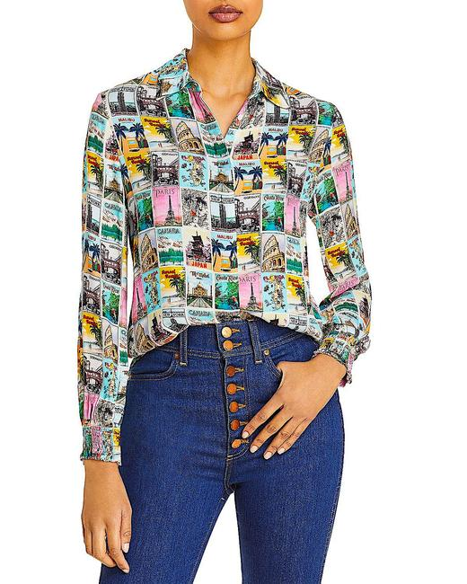 Item - Multi with Tag Willa Wanderlust Print Smock Cuff Button Button-down Top Size 8 (M)