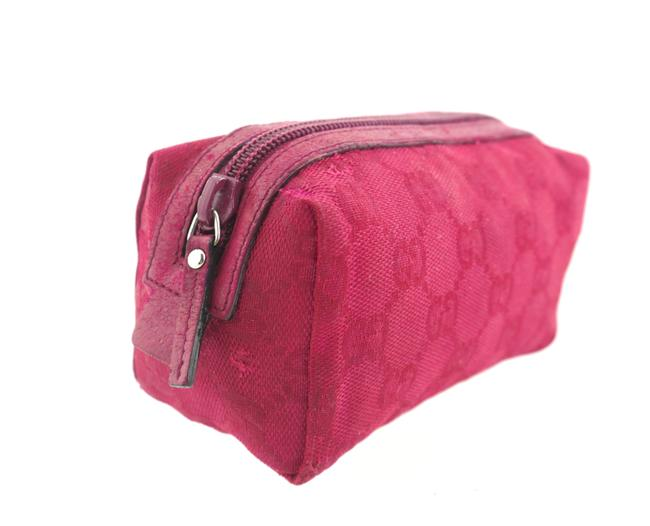 Item - Red Toiletry Gg Monogram Canvas Leather Travel Cosmetic Bag