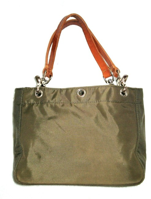 Item - Olive with Leather Handles Green Nylon Satchel
