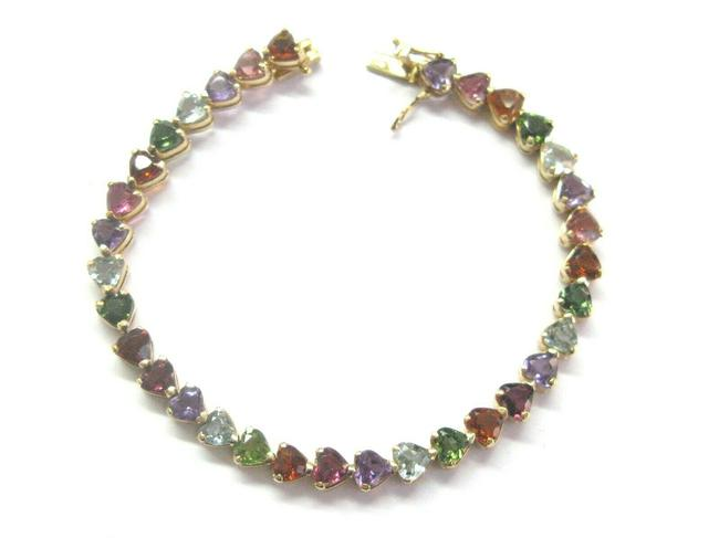 Custom Made Yellow Gold Heart Shape Multi Color Sapphire Tennis 14kt 16.0 Bracelet Custom Made Yellow Gold Heart Shape Multi Color Sapphire Tennis 14kt 16.0 Bracelet Image 1