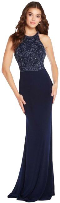 Item - Blue 60023 Racerback Beaded Sequined Party Long Formal Dress Size 12 (L)