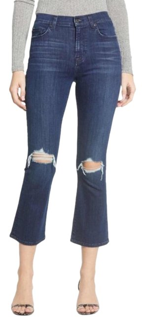 Item - Blue Dark Rinse Distressed High New Capri/Cropped Jeans Size 26 (2, XS)