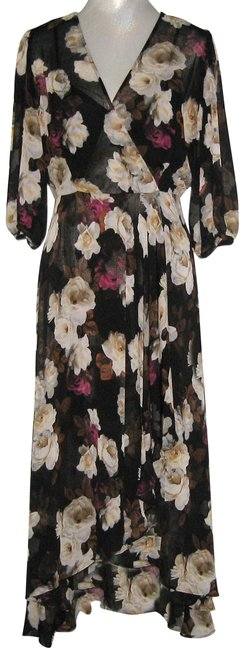 Item - Black Multi Floral Chiffon V-neck Faux Wrap Ruffle Long Casual Maxi Dress Size 12 (L)