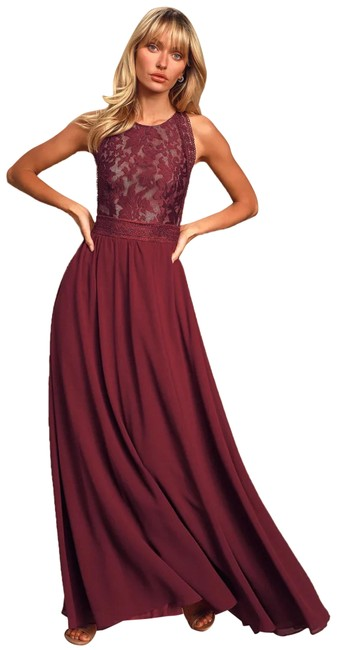 Item - Burgundy Forever and Always Lace Maxi Long Formal Dress Size 6 (S)