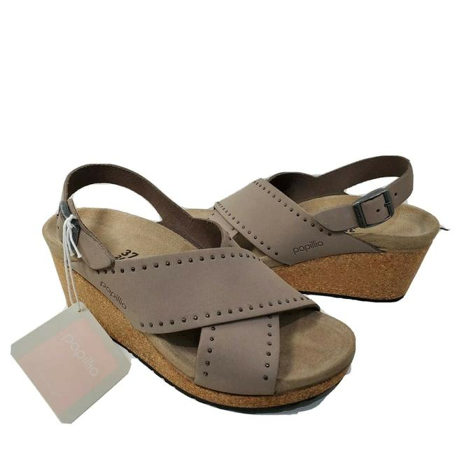 Item - Taupe Samira Biscuit Rivets Wedge Sandals Size EU 37 (Approx. US 7) Narrow (Aa, N)