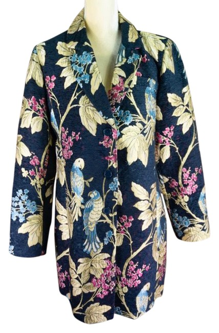 Item - Navy Blue Cartonnier Parrot Printed Coat Size 12 (L)