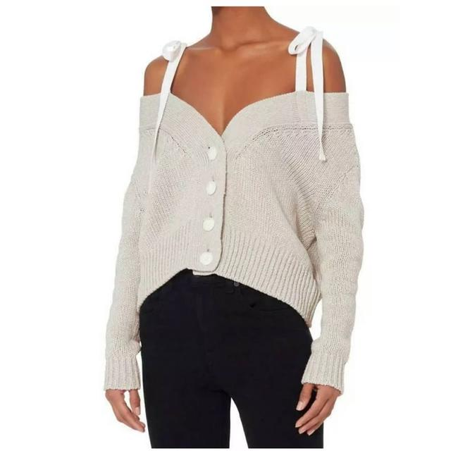 Item - Off The Shoulder Chunky Knit Cardigan M Gray Sweater