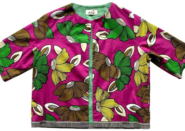Item - Green Brown Purple Yellow Cropped Floral Short Sleeve Blazer Size 6 (S)