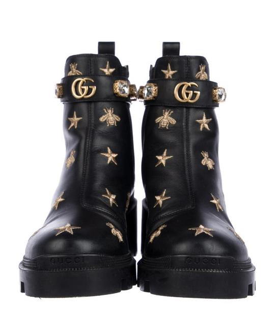 Item - Black Double G Logo Leather Combat Boots/Booties Size EU 39 (Approx. US 9) Regular (M, B)
