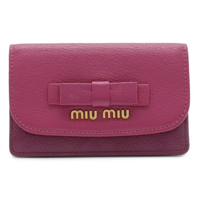 Item - Pink / Wine Madras Card Case Pass Regular Insert Ribbon Motif Leather Wallet
