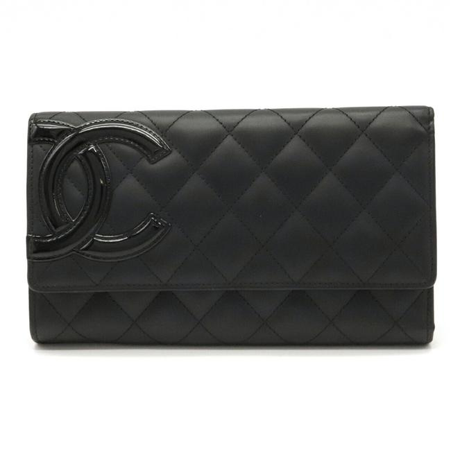 Item - Black / Pink Cambon Line Coco Mark Tri-fold Long Calfskin Leather A46645 Wallet