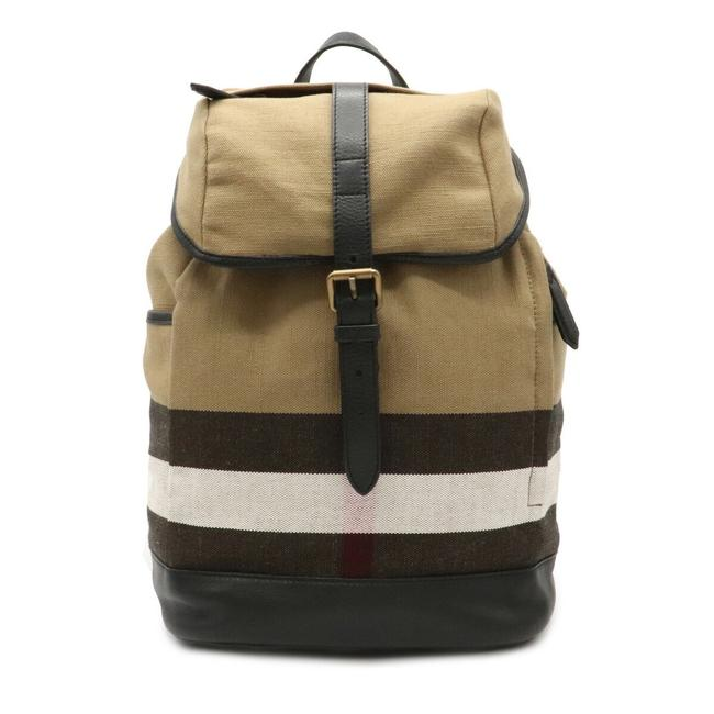 Item - Rucksack Plaid Beige / Black / Brown / Red Color / White Canvas / Leather Backpack