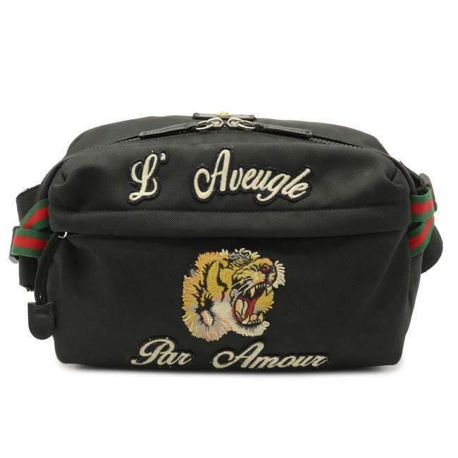 Item - Belt Techno Tech Pack Embroidered Tiger 477085 Black / Green / Navy / Red Color Canvas Cross Body Bag