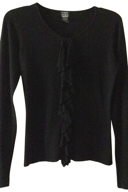 Preload https://item2.tradesy.com/images/black-ruffled-front-sweaterpullover-size-petite-8-m-288476-0-0.jpg?width=400&height=650