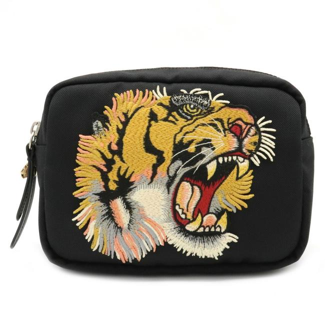 Item - Techno Embroidered Tiger 523323 Black / Green / Red Color Canvas Cross Body Bag