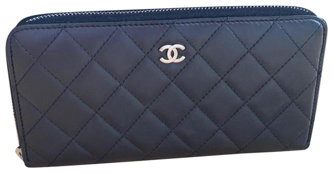 Chanel Black Lambskin Quilted Large Gusset Zip Around Wallet Chanel Black Lambskin Quilted Large Gusset Zip Around Wallet Image 1