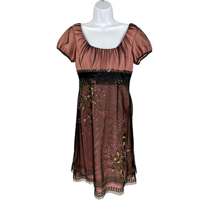 Item - Black Floral Embroidered Beaded Sheath Pink Night Out Dress Size 6 (S)