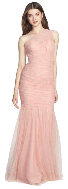 Item - Pink Tulle One Shoulder Mermaid Gown Formal Dress Size 8 (M)