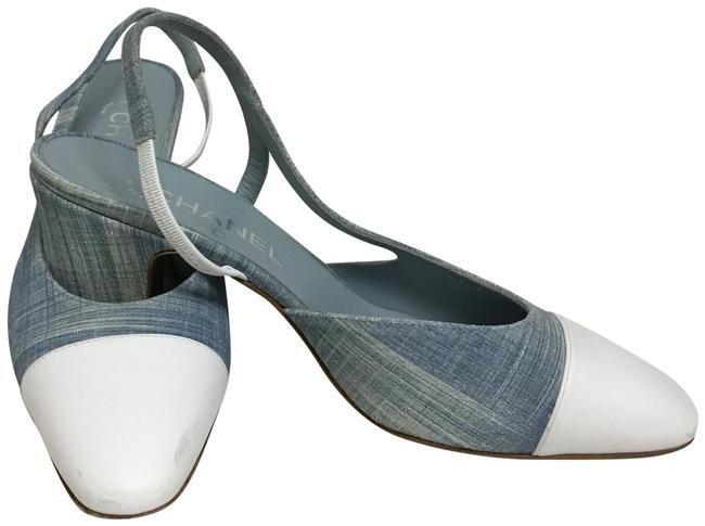Item - Blue Baby Slingback with White Leather Toe Cap Pumps Size EU 38.5 (Approx. US 8.5) Regular (M, B)