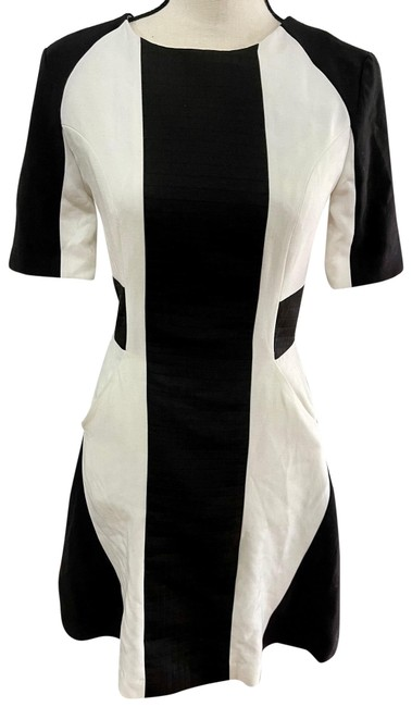 Item - Black and Off White Color Mid-length Work/Office Dress Size 4 (S)